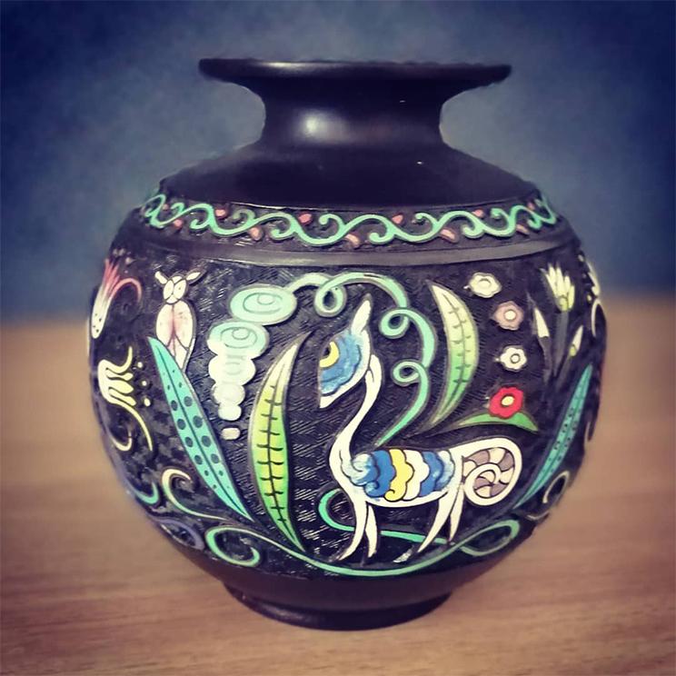 泥七宝青銅花瓶「幻獣」