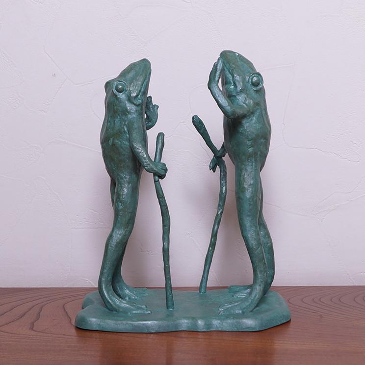 青銅置物 「京のカエル、大阪のカエル」