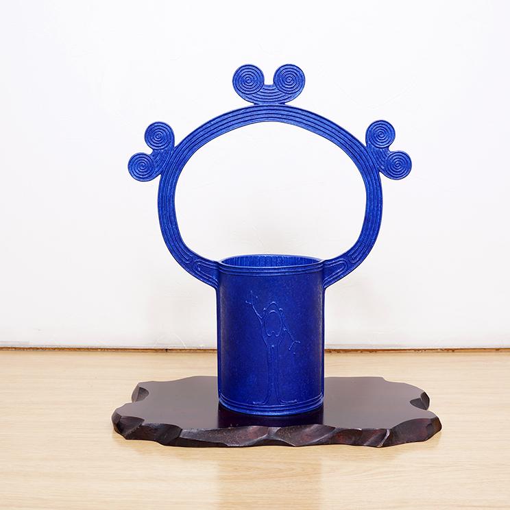 青銅花器「渦文取手付花器」